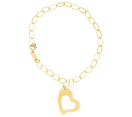 "14K Heart 7-1/4"" Dangle Heart Link Bracelet, 0.9g"