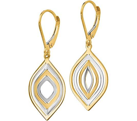 14kt Two Tone Gold Dangle Double Oval Leverback Earrings
