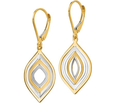 14K Gold Two-Tone Dangle Lever Back Earrings