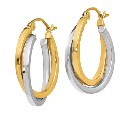 14K Gold Two-Tone Crossover Double Hoop Earrings