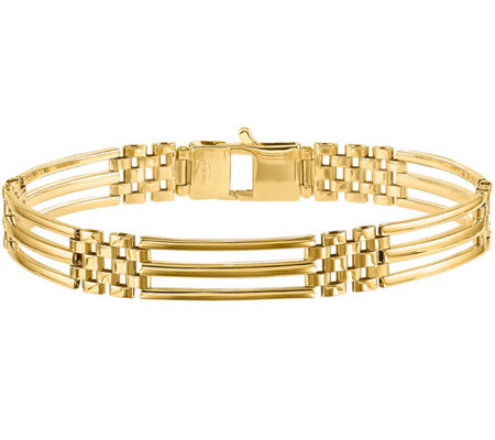 "Italian Gold 8-1/2"" Open Rectangle Link Bracelet 14K, 15.3g"