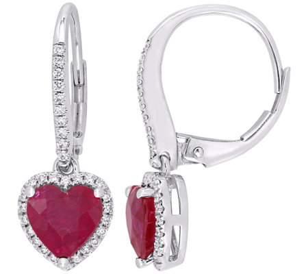 14K Gold 2.10 cttw Heart Ruby & Diamond Leverback Earrings