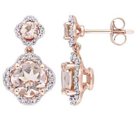 14K Gold 2.65 cttw Morganite Diamond Halo Dangle Earrings