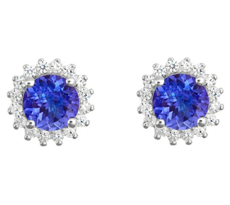 14K Gold 1.40 cttw Round Tanzanite Halo Stud Earrings