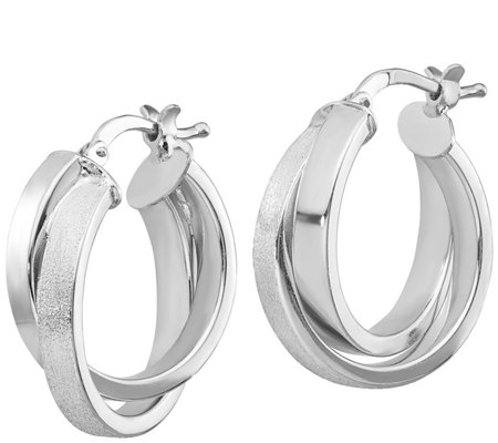 Italian Silver Double Hoop Crossover Earrings