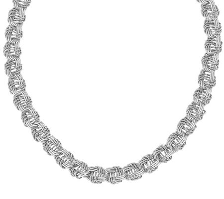 Italian Silver Woven Link Necklace, 42.0g