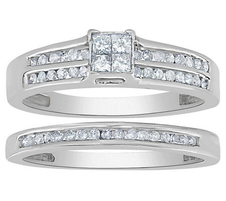 Affinity 14K Gold 2/5 cttw Diamond Double-Channel Ring Set