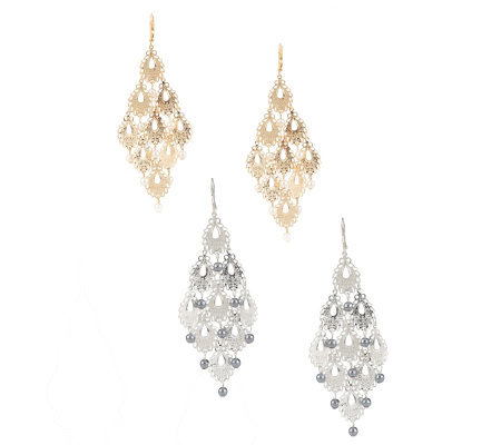 Set of 2 Simulated Pearl Chandelier Lever Back Earrings