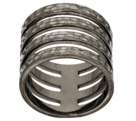 Italian Silver Boild Diamond Cut 4-Row Band Ring, Sterling
