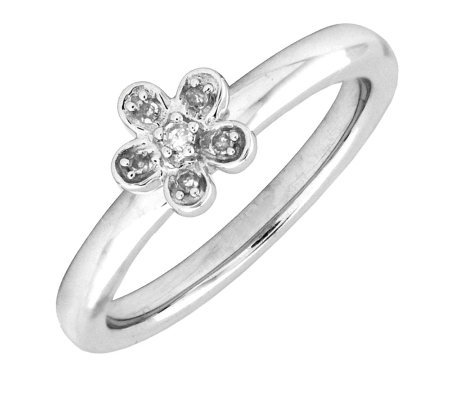 Simply Stacks Sterling & Diamond Flower Ring