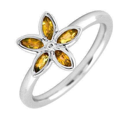 Simply Stacks Sterling Citrine Romantic Flower Ring