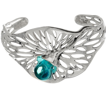 Kalos by Hagit Sterling Silver Blue Glass Openwork Cuff