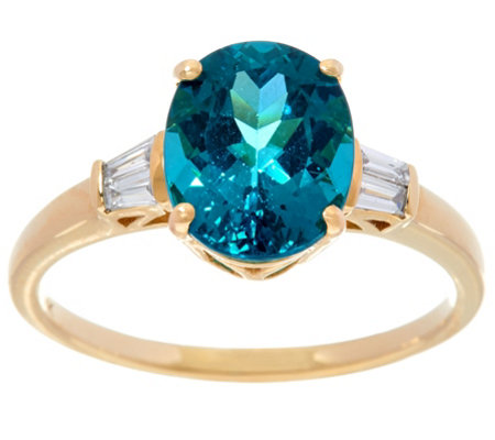 Oval Teal Blue Apatite & Baguette Diamond Ring 14K, 2.45 ct