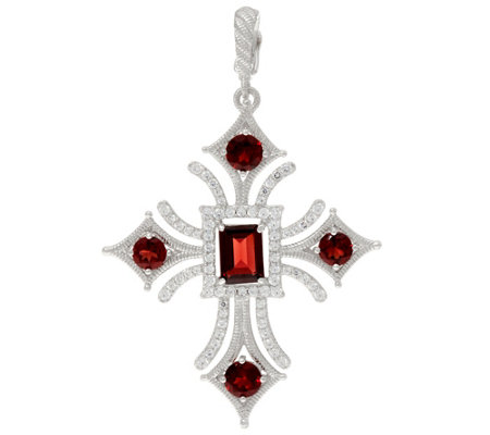 Judith Ripka Sterling 3.50 cttw Garnet Cross Enhancer