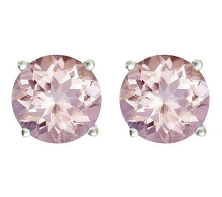 Premier 3.05 cttw Round Morganite Stud Earrings, 14K
