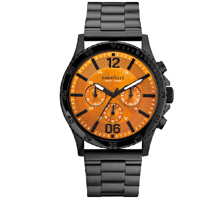 Caravelle New York Men's Black Stainless SteelWatch