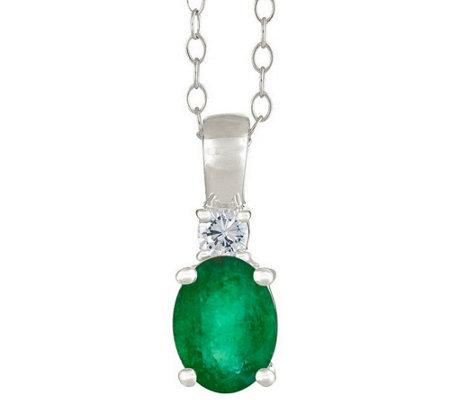 Premier 9 10cttw Oval Emerald 1 10cttw Diamond Pendant 14k
