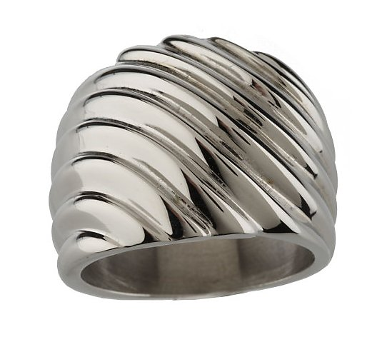 Steel by Design Bold Graduated Ribbed Design Ring