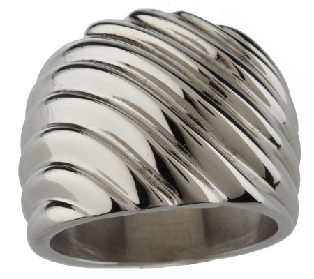 Stainless Steel Bold Graduated Ribbed Design Ring