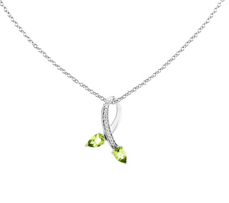 "0.90 ct tw Sterling & 14K Peridot Diamond Pendant w/18"" Chain"