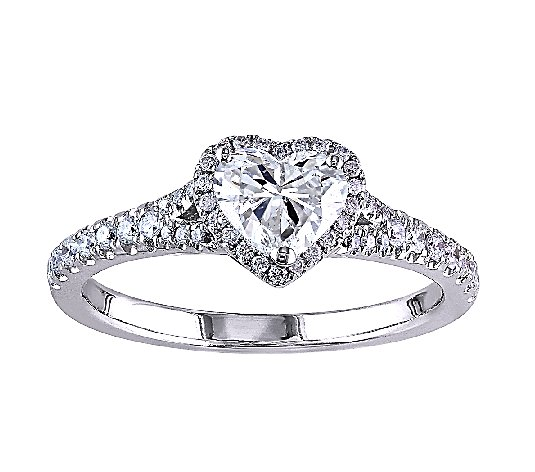 Affinty 1 cttw Diamond Heart Halo R ing, 14K