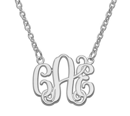 "Laser & Etched Polished Monogram with 18"" Chain, 14K"