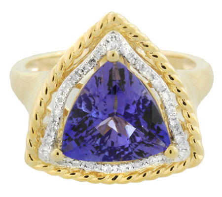 3.75 ct Trillion Cut Tanzanite and Diamond Ring14K Gold