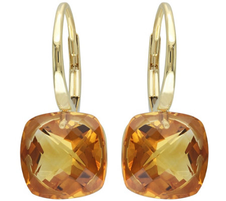 8.00 cttw Madeira Citrine Earrings, 14K Gold