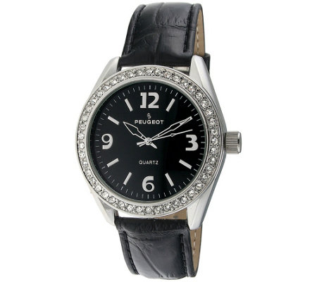 Peugeot Women's Crystal Bezel Black Leather Watch