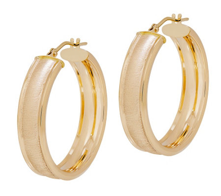 EternaGold Textured Cigar Band Hoop Earrings, 14K Gold