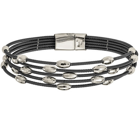 "Sterling & Ruthenium-Plated Bead 7-1/2"" Bracelet"