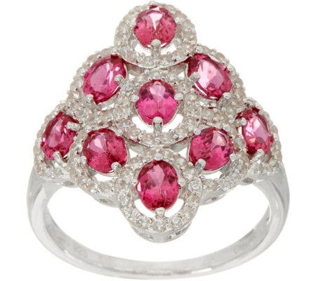 Pink Spinel & White Zircon Elongated Sterling Silver Ring