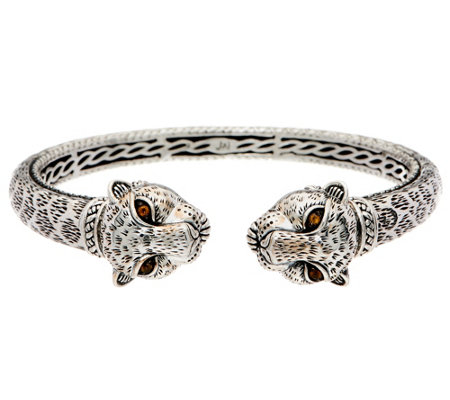JAI Sterling Silver Double Head Leopard Hinged Cuff Bracelet