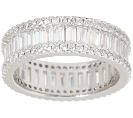 Diamonique 1.40 cttw Round and Baguette Eternity Band, Sterling