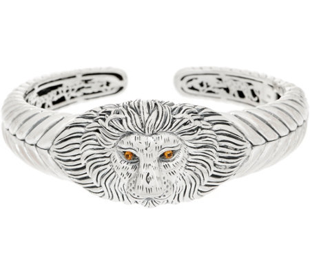 JAI Sterling Silver & Gemstone Lion Head Cuff, 58.8g