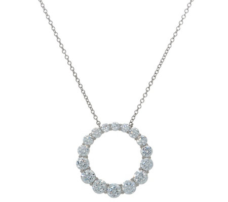 Diamonique Royal Collection Circle Pendant, Sterling Silver
