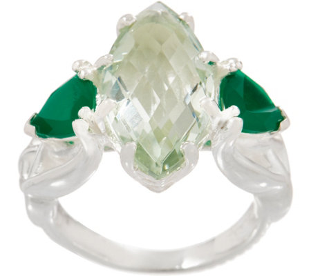 """As Is"" JMH Jewellery Sterling Silver Green Quartz & Green Onyx Ring"