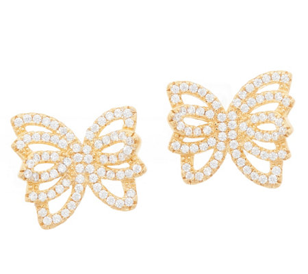 Diamonique Pave' Butterfly Stud Earrings, Sterling Silver