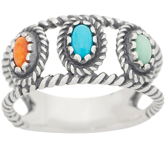 American West Sterling Silver Sunrise Gemstone Band Ring
