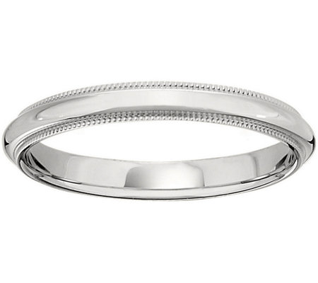 Men's 18K White Gold 3mm Milgrain Wedding Band