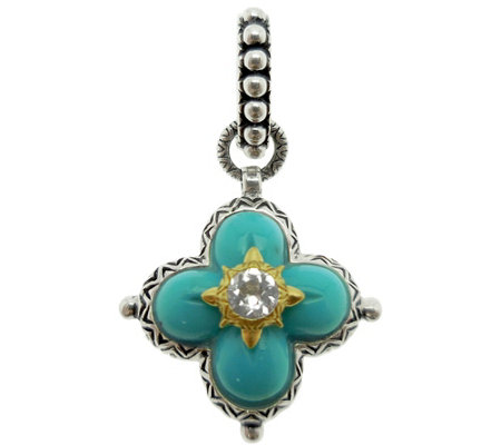 Barbara Bixby Sterling & 18K Gold Turquoise Flower Pendant