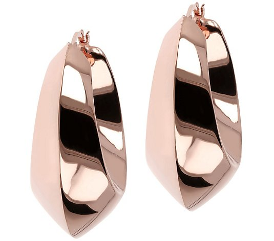 "Bronzo Italia 1-1/2"" Polished Bold Hoop Earrings"