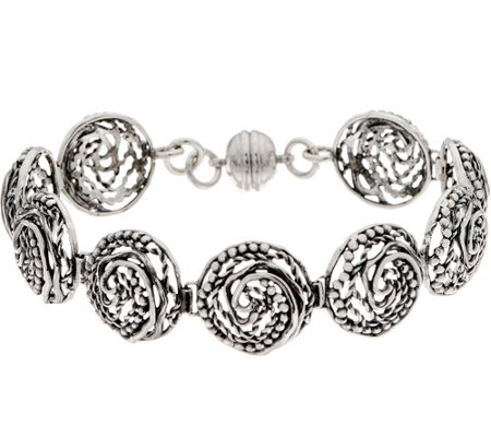 Or Paz Sterling Silver 8 Swirl Circle Link Bracelet 26 0g