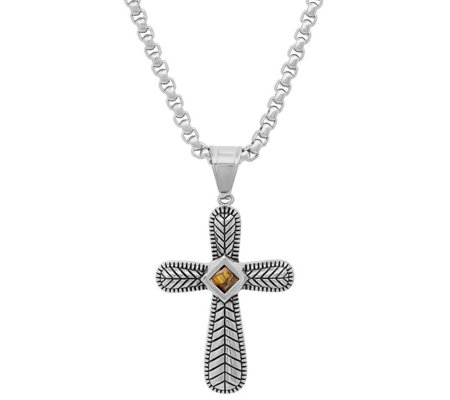 Steel by Design Tiger's Eye Cross Pendant