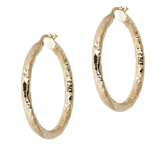 "Bronzo Italia 1-1/4"" Hammered Round Hoop Earrings"