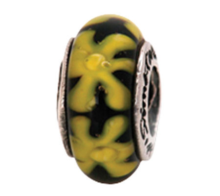 Prerogatives Sterling Yellow and Black Floral Glass Bead