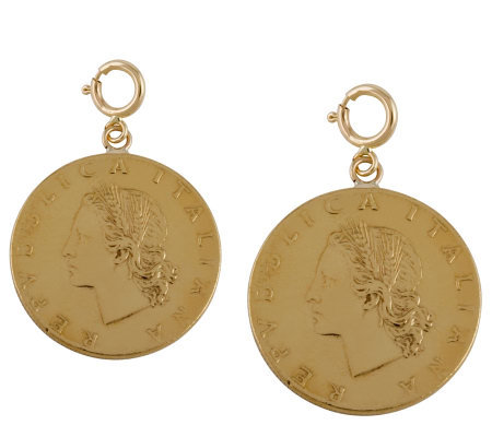 Set of 2 Twenty-Lire Coin Charms, 14K Gold