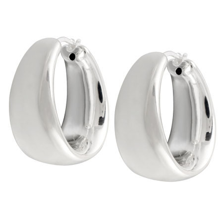 UltraFine Silver Bold Graduated Polished Hoop Earrings