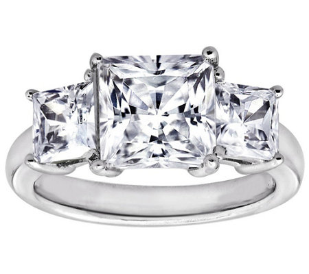 Diamonique 3.50 cttw 3 Stone Princess Cut Ring,Platinum Clad