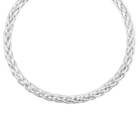 "UltraFine Silver 7-1/4"" Bold Wheat Chain Bracel et, 5.0g"